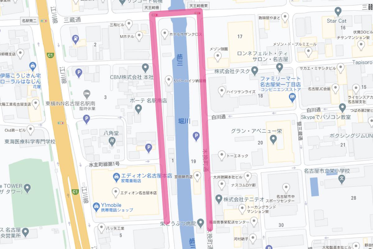 堀川沿いマップ